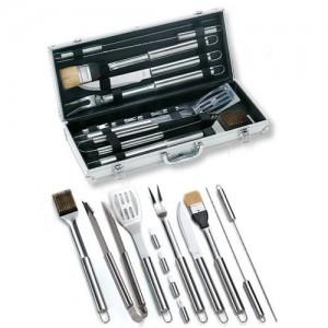 Ompagrill 01245 Set valigetta in alluminio da 12 pezzi in acciaio