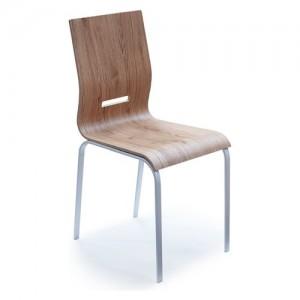 Pointhouse Onda Rovere Sedia da cucina Onda con gambe in metallo e sedile