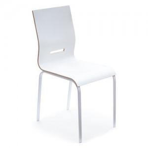 Pointhouse Onda Bianco Sedia da cucina Onda con gambe in metallo e sedile