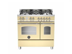 Cucina Libera Installazione 90 Cm 5 Fuochi con Forno Elettrico Doppio Serie Heritage Crema Bertazzoni HER905MFEDCRE