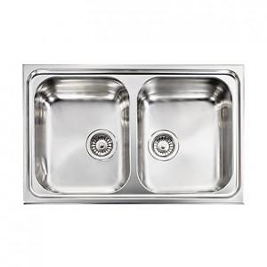 Lavello Inox CRISTAL 3 79x50 2 Vasche Reversibile CM 010012 RCSSP