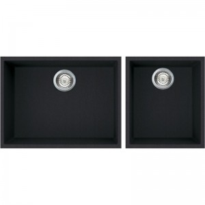 Lavello 58x44cm + 38x44cm Due Vasche Separate Nero Full Black Granitek Elleci QUADRA 210 Sottotop LGQ21040BSO