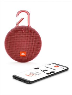 JBLSpeaker CLIP 3 Bluetooth Waterproof Ultra-Portatile con Microfono e Moschettone Integrato Colore Rosso