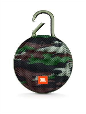 JBLSpeaker CLIP 3 Bluetooth Waterproof Ultra-Portatile con Microfono e Moschettone Integrato Colore Camouflage