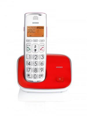 Brondi Bravo Gold 2 Telefono DECT Rosso/Bianco con Identificatore di Chiamata