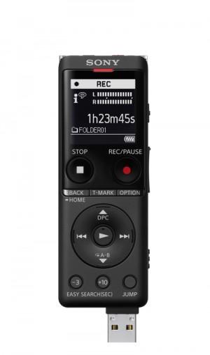 Sony ICD-UX570 Registratore Vocale Stereo Display OLed Riduzione Rumori Sottofondo Memoria 4Gb + Slot microSD Nero