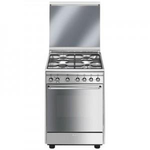 SMEGCX60SV9 Estetica Classica Cucina a 4 Fuochi Gas Forno Elettrico Multifunzione Classe A Dimensione 60 x 60 cm Colore Inox