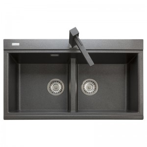 LX8620 Lavello 2 vasche Plados Serie Lux 86-20 code 70 ULTRAGRANIT BLACK MATT