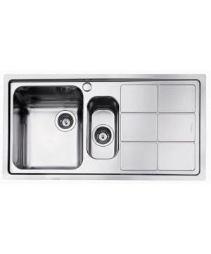 Lavello 2 Vasche + Gocciolatoio Dx Semifilo Inox Spazzolato S3000 Foster 1369 062 - 1369062