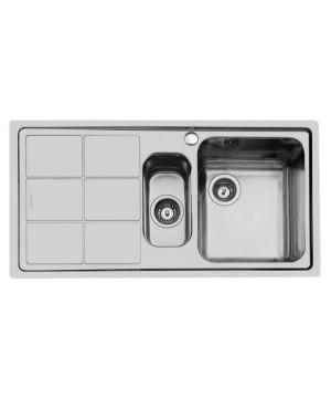 Lavello 2 Vasche + Gocciolatoio Sx Filotop Inox Spazzolato S3000 Foster 1366 061 - 1366061