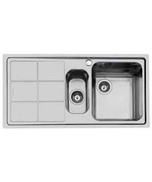 Lavello 2 Vasche + Gocciolatoio Sx Semifilo Inox Spazzolato S3000 Foster 1369 061 - 1369061