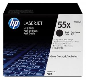 Confezione Da 2 Cartucce Di Toner Nero Ad Alta Capacità Laserjet 55x Originale HP CE255XD