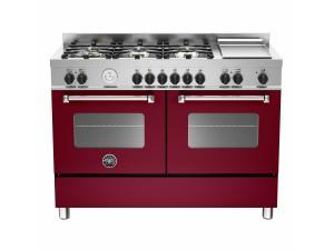 Cucina Libera Installazione 120 Cm 6 Fuochi e Piastra con Forni Elettrici Gemelli Serie Master Vino Bertazzoni MAS1206GMFEDVIT