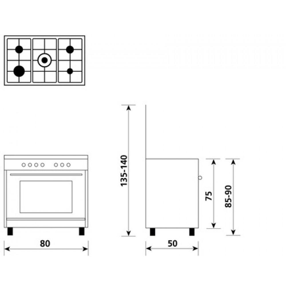 glem gas cucina con forno gas   grill elettrico  misto