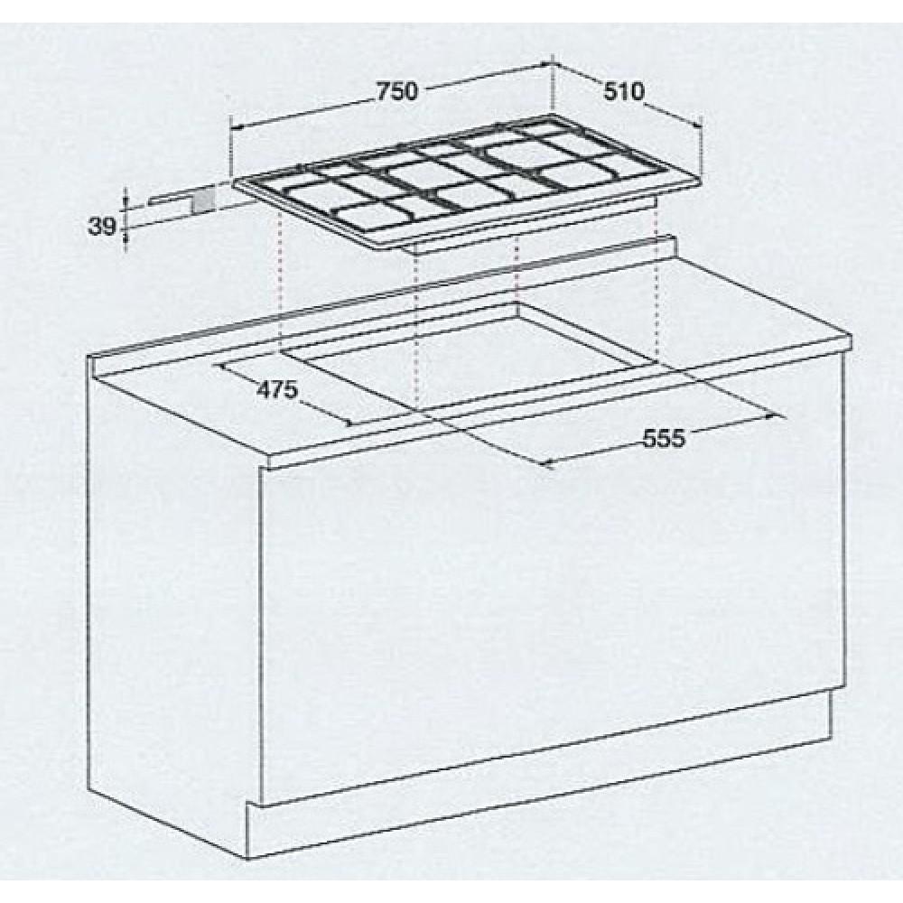 AN R PCN 750 T Hotpoint Ariston Piano Cottura 5 Fuochi Incasso a Gas 75 cm